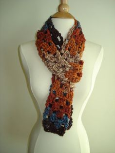 Handmade Pumpkin Spice Crochet scarf in a funky Fall by Belisse, $20.00