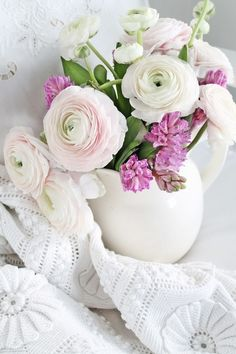 soft pink ranunculus, with hyacinth