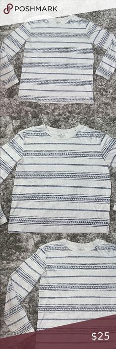 Guess Palm Stripe Long Sleeve T Shirt at