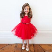 2015 New Girl Bright Red Mesh Dress Christmas Present Kids baby Short Sleeve Flower Dress Children Clothes Hot Sale ASL085(China (Mainland))