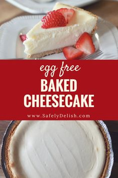 This easy, rich, classic eggless cheesecake requires no eggs and no special egg substitutes, and tastes just like a traditional New York style baked cheesecake! Eggless Desserts, Eggless Recipes, Eggless Baking, Desserts To Make, Healthy Desserts, Mug Cakes, Baked Cheesecake Recipe, No Bake Cheesecake, Chia Pudding