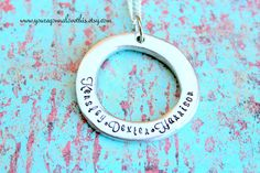 Personalized Pewter Oval Mother's Names by youregonnalovethis Etsy You're Gonna Love This Pewter Hand stamped Handmade Hand made Stamped with Names Children's Names