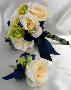 Navy Blue - Ivory Rose Hydrangea wedding bridal bouquet with boutonniere. I like the navy blue, but a champagne ribbon might look better with both.