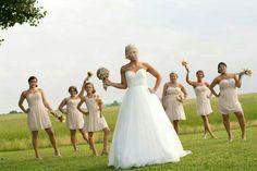 Fun bride and bridesmaids bridal party shot for wedding photography
