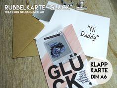 """Baby- & Geburtskarten - RUBBELKARTE """"Glück""""-Verkündet Euer Glück-+Umschlag - ein Designerstück von KleineFabrik bei DaWanda"""