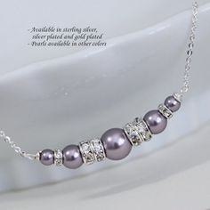 CUSTOM COLOR Personalized Bridesmaid Gift, Swarovski Mauve Pearl Necklace, Bridesmaid Gift, Bridesmaid Necklace, Bridal Necklace