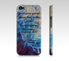Be Strong  iPhone 4 4S or 5 5S 5C Hard Case by EbiEmporium on Etsy, $40.00  #God #Bible #Biblical #Holy #Lord #Praise #Inspiration #Proverbs #Scripture #Christ Religious Christian God iPhone Case, Biblical Verse Jesus Christ Cell Phone Case