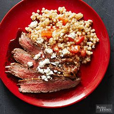 Mediterranean Couscous and Beef  This less-stress dinner features just five ingredients yet remains full of flavor thanks to a lemon-pepper marinade.