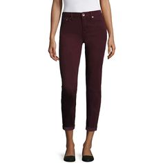 Stylus™ Skinny Ankle Jeans ($30) ❤ liked on Polyvore featuring jeans, ankle zipper skinny jeans, zipper jeans, mid-rise jeans, purple jeans and purple skinny jeans