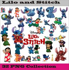 Lilo and stitch Collection PNG Vector Instant Download Disney Clipart Digital Albums Magnet Collage Greeting Sticker Printable Party Items by SlavGraphics on Etsy