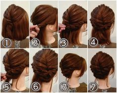 Rose-Shaped Braided Bun - 40 Updos for Long Hair – Easy and Cute Updos for 2019 - The Trending Hairstyle Hairdos For Short Hair, Easy Hairstyles For Medium Hair, Up Hairstyles, Medium Hair Styles, Wedding Hairstyles, Short Hair Styles, Bridesmaid Hair, Prom Hair, Pelo Guay