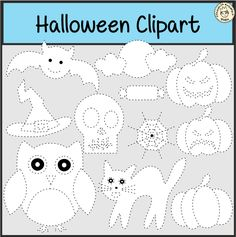 This clip art set contains the following traceable images: Bat, Bones, 2 Candies, Cat, Cauldron, Сandle, Witch hat, Full moon with clouds, Half moon, Star, Owl, 2 Pumpkins with face, Pumpkin, Skull, Spider, Tree, Eye, 2 Ghosts, Spider web, Сandy corn.