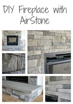 DIY with Airstone- painted the walls behind the AirStone a dark color at the recommendation of one of our contractors, who had worked with this product be.: # fireplace and mantels, DIY Stone Fireplace with AirStone Airstone Fireplace, Fireplace Update, Farmhouse Fireplace, Home Fireplace, Faux Fireplace, Fireplace Surrounds, Fireplace Design, Fireplace Ideas, Airstone Wall