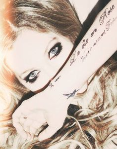 """""""My arm tattoo's...  Each one of them has a meaning. Dare to find out?"""" - Zelda Wayne. (My RP character loves. No freaking out)"""