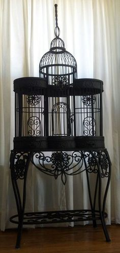 One of a Kind Gothic Bird Cage Mansion Unusual Avant Garde Black Fetish Iron 6 Feet Tall Spire Statement Piece. $800.00, via Etsy.