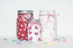 DIY heart stamped mason jars for Valentine's Day decor or gifts. Including the new Ball mini mason jars.
