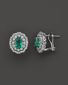 Bloomingdale's Emerald and Diamond Oval Stud Earrings in White Gold - Exclusive Jewelry & Accessories - Bloomingdale's Gold Diamond Earrings, Emerald Earrings, Emerald Jewelry, Crystal Earrings, Diamond Jewelry, Gold Jewelry, Vintage Jewelry, Gold Bracelets, Diamond Necklaces