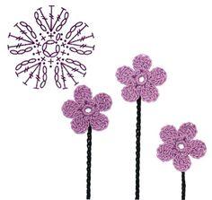 No.5 Phlox Crochet Flower Motifs / 지면패랭이꽃 코바늘 플라워 모티브도안 Crochet Hair Bows, Crochet Puff Flower, Knitted Flowers, Crochet Flower Patterns, Crochet Stars, Fleur Crochet, Form Crochet, Thread Crochet, Crochet Doilies