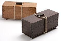 The original box was made from English brown oak. The newer version is wenge. Its a pretty wood, but not much fun to work with. Watch out for those splinters! - CLICK TO ENLARGE