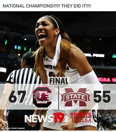 NCAA Women's Basketball champs!! Yeah, baby! 1st championship win in school history.  First NCAA Championship win for Dawn. This team deserves every good thing.