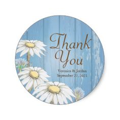 Whimsical Wood Daisy Thank You Stickers