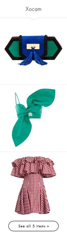 """Xocam"" by camila-espinal ❤ liked on Polyvore featuring bags, handbags, clutches, balmain, green multi, blue clutches, suede purse, balmain purse, green suede handbag and embellished handbags"