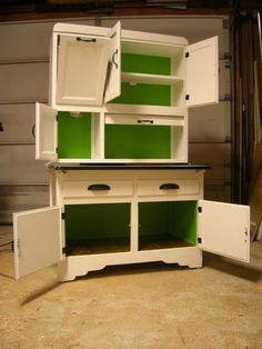 Hoosier Cabinet with bold interior!