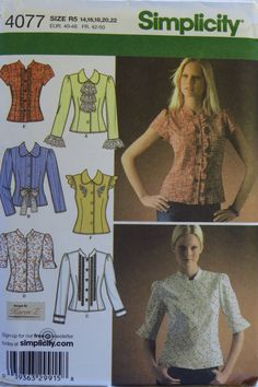 Simplicity 4077 Misses' Blouses with Trim Variations