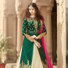 Beautiful Green White Party Wear Banglori Silk Salwar Kameez