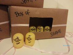 minion baby shower box of shame game