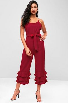 94b23511419 Tiered Ruffle Wide Leg Sleeveless Jumpsuit - Firebrick. Teens casual daily  club daytime beach day