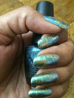 OPI This Color's Making Waves, MDU Gold & CICI&SISI Jumbo 6-Set Plate 31-Delicate Motif