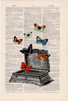 Upcycled Art Print Vintage jewell box with butterflies by PRRINT