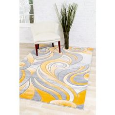 Shop for Persian Rugs Mango/Grey/White Carved Swirls Area Rug (5'2 x 7'2). Get free shipping at Overstock.com - Your Online Home Decor Outlet Store! Get 5% in rewards with Club O!