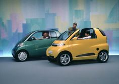 1993 MCC Eco Sprinter and Eco Speedster concepts previewed the Smart ForTwo (or City Coupé as it was known at launch) Mercedes Smart, Mercedes Benz, Land Rover Defender, New Smart Car, 4x4, Swatch, Mini Car, Daimler Ag, Eco Friendly Cars