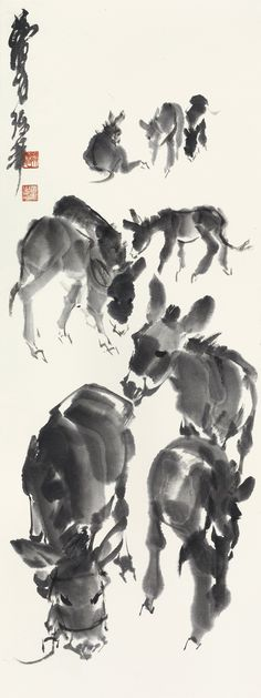 Huang Zhou (1925-1997) DONKEYS signed HUANG ZHOU, and with two seals of the artist ink on paper, hanging scroll 47.5 by 17.7 cm. 18 ¾ by 7 in. 黃冑 九驢圖 水墨紙本 立軸 款識: 黃胄練筆。  鈐印:「映齋梁氏」、「黃冑之印」。 47.5 by 17.7 cm. 18 ¾ by 7 in.