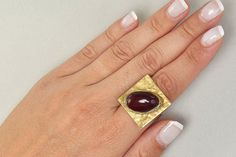 Garnet bead ring, brass large ring, gold tone big ring,chunky ring, index finger ring,tagua nut, vegetable ivory,boho jewelry,christams gift by ColorLatinoJewelry on Etsy