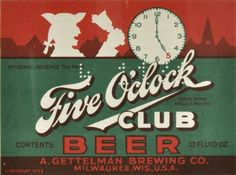 Five O'Clock Club beer bottle label.