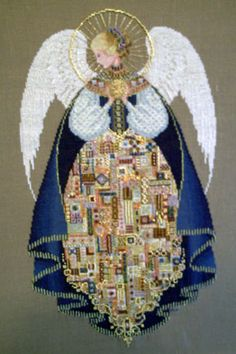 """""""Angel of Love""""  Beaded counted cross-stitch on linen.  Mine won an """"Honorable Mention"""" at the Michigan State Fair."""