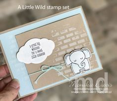 A Little Wild bundle - stamp set and Little Loves Framelits Dies, Embossing Paste, Pattern Party Decorative Masks, Palette Knives Stampin' Up! Baby Shower Cards, Baby Cards, Small Gift Bags, Little Elephant, Animal Cards, Paper Pumpkin, Kids Bags, Cute Cards, Stampin Up Cards