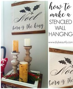 This large stenciled wall hanging is easy to make and adds farmhouse feel to my Christmas decor! Find the tutorial at www.diybeautify.com!