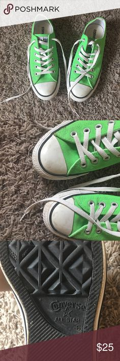 Green Converse Shoes Great condition. Worn only a few times. Comfortable. I love them but don't have room for them. I wear a size 8 for all other shoes but these are a size 6 and they fit me well. Converse Shoes Sneakers