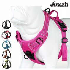 JUXZH Soft Dog Harness Reflective No Pull Harness with handle and Two Leash Attachments - Dog Store Cool Dog Harness, Dog Ramp For Bed, Dog Backpack, Shock Collar, Dog Car Seats, Flea Treatment, Dog Store, Dog Care Tips, Animals