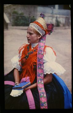 Portrait of a woman wearing traditional clothes, Maconka, Hungary Folk Costume, Costumes, Ethnic Diversity, Flower Headpiece, Traditional Clothes, Without Makeup, Historical Costume, Crucifix, Headgear