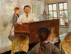 """A Lesson in the Village School"". Laurits Andersen Ring"