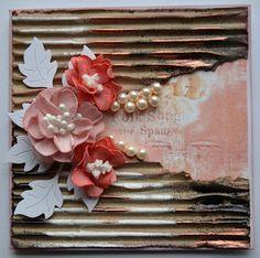 Troldinden: Kort med foamiran blomster.
