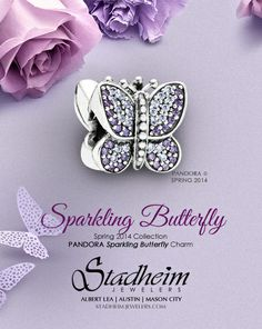 Sparkling Butterfly Charm - Pandora Spring Collection 2014
