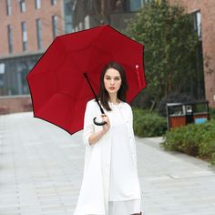 Windproof Double Layer Folding Inverted Rain Protection Car Reverse Umbrellas With J-shaped Handle For Adult