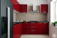 Types of Modular Kitchen Materials Kitchen Cabinets Materials, Finish Kitchen Cabinets, Red Cabinets, Kitchen Laminate, One Wall Kitchen, Small Space Kitchen, Small Spaces, Small Kitchens, Kitchen Grey