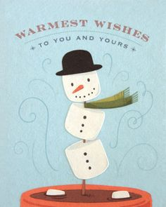 """Warmest wishes to you and yours"" - that's what our dancing Marshmallow Snowman Card says!"